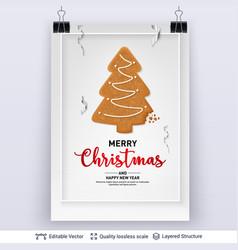 Gingerbread fir tree cookie on light banner vector
