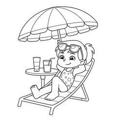 Girl sunbathing and relaxing on the beach bw vector