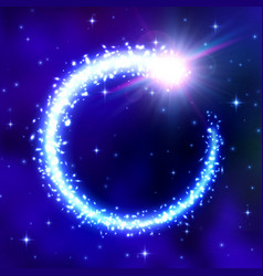glowing comet frame on blue space background vector image