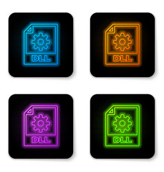 glowing neon dll file document icon download dll vector image