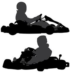 Go-kart silhouette vector