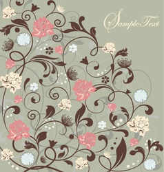 gray floral card vector image