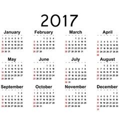 Great new wall calendar 2017 vector image