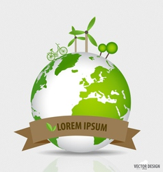 Green planet earth concept Green eco background vector