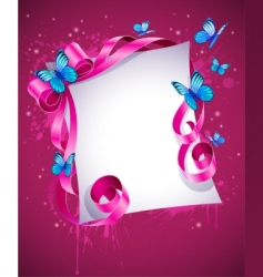 Greeting card with pink bow vector