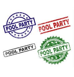 grunge textured pool party stamp seals vector image