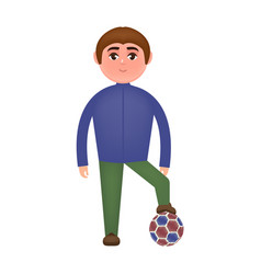 guy and soccer ball in cartoon style vector image