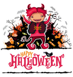 halloween card boy in devil costume vector image