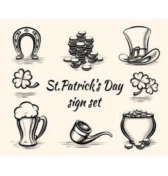 Hand drawn St Patricks Day signs vector image
