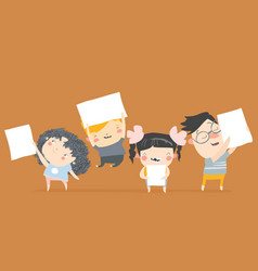 happy cartoon boys and girls holding blank posters vector image