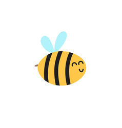 happy flying bee funny character for kids design vector image