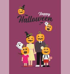 Happy halloween family with pumpkin head vector