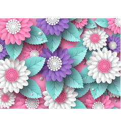 horizontal paper cut 3d flowers background in pink vector image