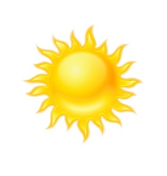 Hot yellow sun icon isolated vector image