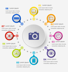 Infographic template with photography icons vector