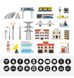 infrastructure and transportation objects vector image