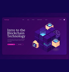 Intro to blockchain technology isometric landing vector