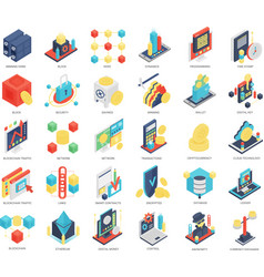isometric icons blockchain and security vector image