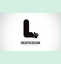 L letter logo design brush paint stroke artistic vector