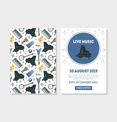 live music landing page template with different vector image