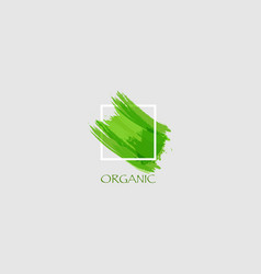 logo organic green original grunge brush paint vector image