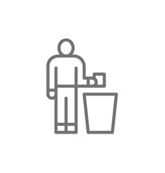 Man throwing out garbage trash line icon vector