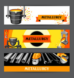 Metallurgical banners design vector