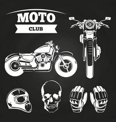 Moto club motorcycle helmet vector