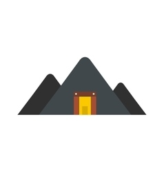 Mountain mine flat icon vector