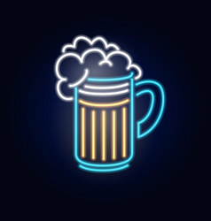 neon beer in glass fashion sign night light vector image