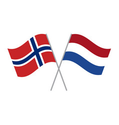 Netherlands and norwegian flags isolated on white vector