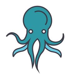 octopus flat line concept vector image