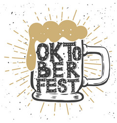 Oktoberfest hand drawn beer mug with lettering vector