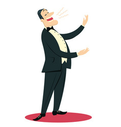 Opera singer man sings in theater isolated on vector