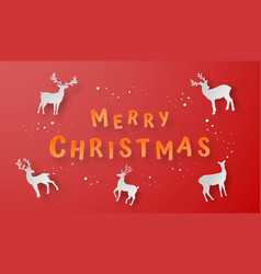 origami paper art reindeer on red background vector image