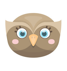 Owl muzzle icon in cartoon style isolated on white vector
