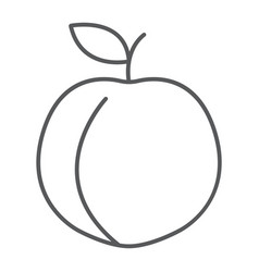 peach thin line icon fruit and vitamin apricot vector image