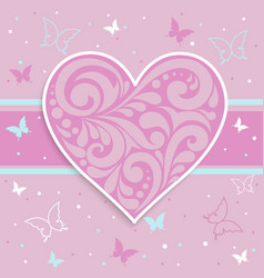 pink card with a heart vector image
