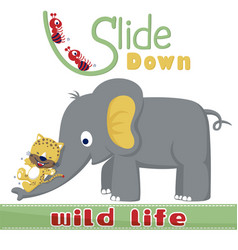 Playing slide down with cute animals vector