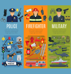 Police firefighter and military profession banner vector
