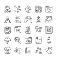 Project management doodle icons vector