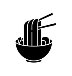 Ramen black glyph icon instant noodles in bowl vector