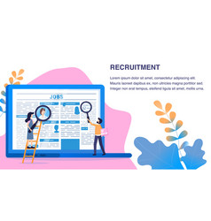 Recruitment article man woman use magnifying glass vector