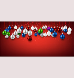 red banner with colorful christmas balls vector image