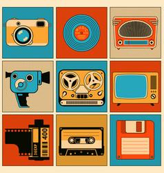 Retro media objects design elements set vector