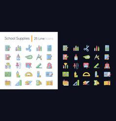 School supplies light and dark theme rgb color vector
