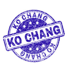Scratched textured ko chang stamp seal vector