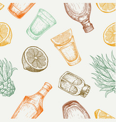 seamless pattern tequila glass and bottle salt vector image