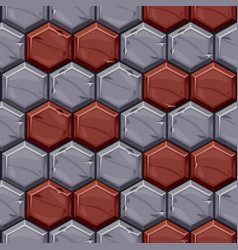 Seamless pattern vintage stone hexagonal tiles vector