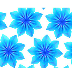seamless pattern with 3d blue origami snowflakes vector image